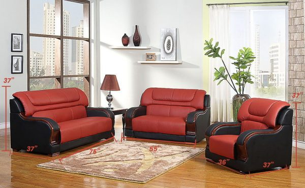 small red leather sectional sofa size