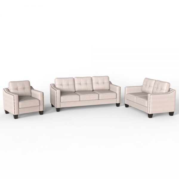 3 Piece Living Room Set, 1 Sofa, 1 Loveseat and 1 Armchair with Rivet on arm Tufted Back Cushions 1