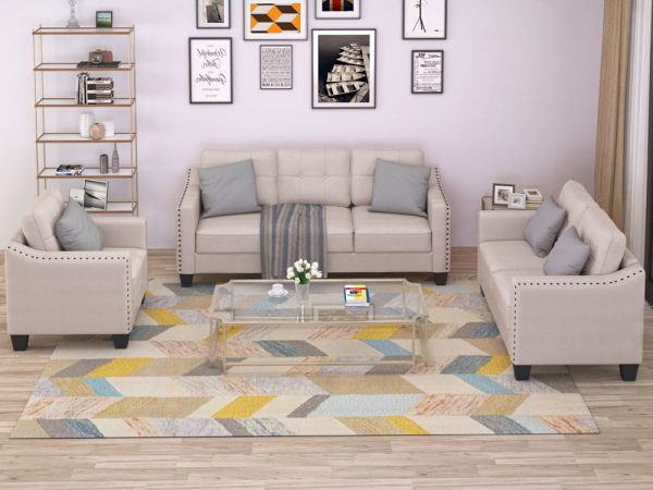 3 Piece Living Room Set, 1 Sofa, 1 Loveseat and 1 Armchair with Rivet on arm Tufted Back Cushions 2