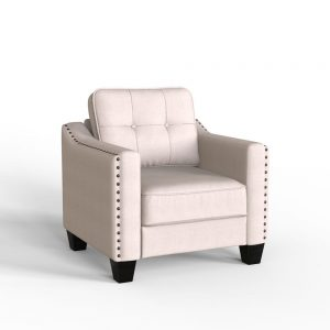 3 Piece Living Room Set, 1 Sofa, 1 Loveseat and 1 Armchair with Rivet on arm Tufted Back Cushions 3
