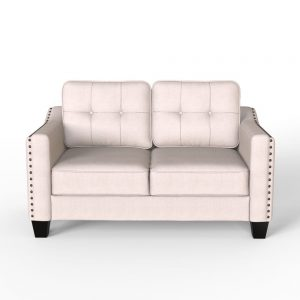 3 Piece Living Room Set, 1 Sofa, 1 Loveseat and 1 Armchair with Rivet on arm Tufted Back Cushions 4