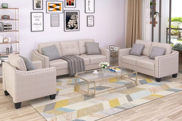 3 Piece Living Room Set, 1 Sofa, 1 Loveseat and 1 Armchair with Rivet on arm Tufted Back Cushions