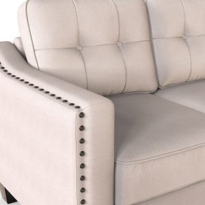 3 Piece Living Room Set, 1 Sofa, 1 Loveseat and 1 Armchair with Rivet on arm Tufted Back Cushions details