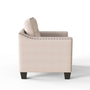 3 Piece Living Room Set, 1 Sofa, 1 Loveseat and 1 Armchair with Rivet on arm Tufted Back Cushions side