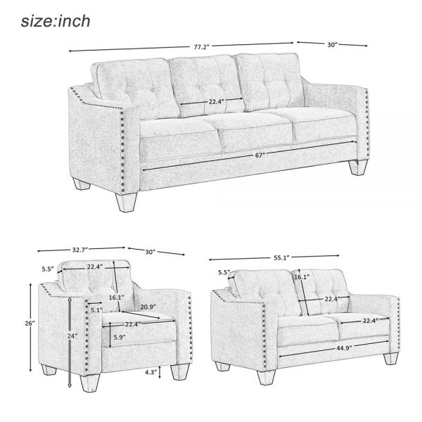 3 Piece Living Room Set, 1 Sofa, 1 Loveseat and 1 Armchair with Rivet on arm Tufted Back Cushions size