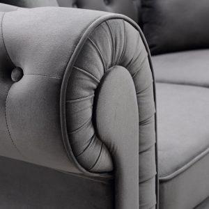 63 Deep Button Tufted Velvet Upholstered Loveseat Sofa Roll Arm Classic Chesterfield Settee details2