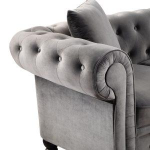 63 Deep Button Tufted Velvet Upholstered Loveseat Sofa Roll Arm Classic Chesterfield Settee details3