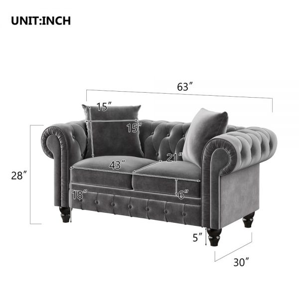 63 Deep Button Tufted Velvet Upholstered Loveseat Sofa Roll Arm Classic Chesterfield Settee size