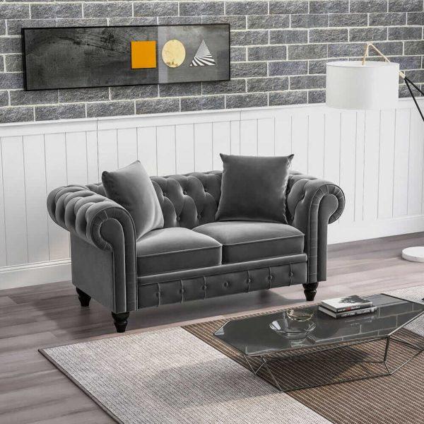 63 Deep Button Tufted Velvet Upholstered Loveseat Sofa Roll Arm Classic Chesterfield Settee1