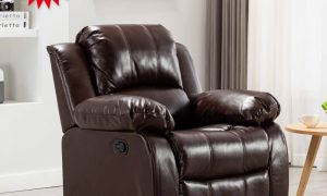 Art Life Manaul Recliner Chair-Air Leather Recliner Chair-Overstuffed Faux Leather Home Theater Seating-Single Reclining Sofa for Living Room and Bedroom