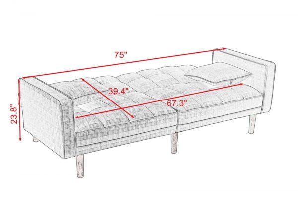 FUTON SLEEPER SOFA WITH 2 PILLOWS DARK GREY FABRIC size1