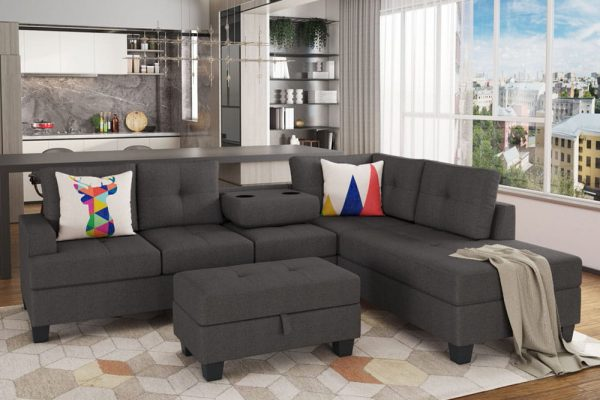 Grey L-Shape Sofa Sectional Matching Storage Ottoman and Cup Holders, Living Room Sofa