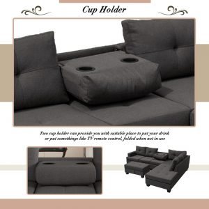 Grey L-Shape Sofa Sectional Matching Storage Ottoman and Cup Holders, Living Room Sofa details