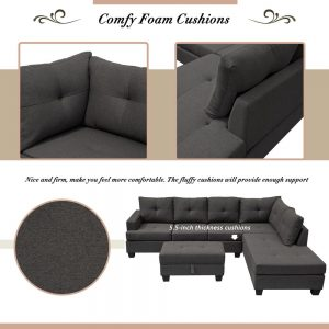 Grey L-Shape Sofa Sectional Matching Storage Ottoman and Cup Holders, Living Room Sofa details1