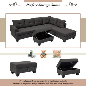 Grey L-Shape Sofa Sectional Matching Storage Ottoman and Cup Holders, Living Room Sofa details2
