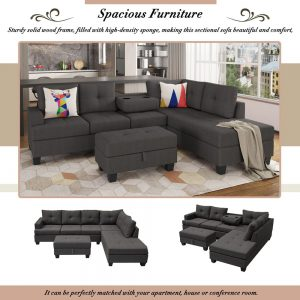 Grey L-Shape Sofa Sectional Matching Storage Ottoman and Cup Holders, Living Room Sofa details3