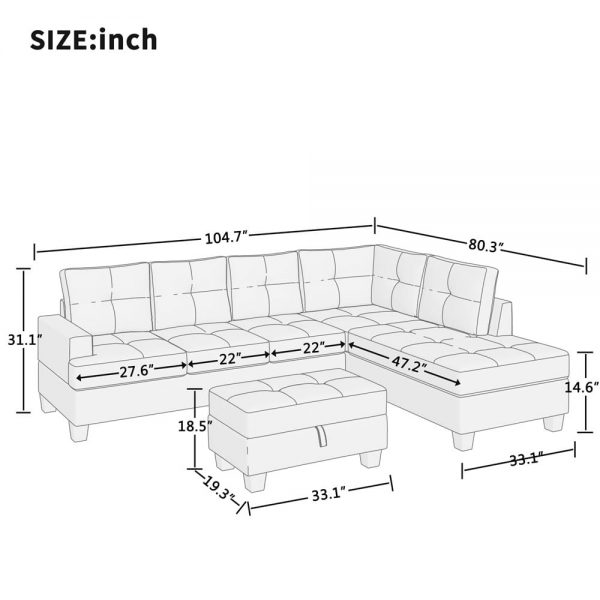Grey L-Shape Sofa Sectional Matching Storage Ottoman and Cup Holders, Living Room Sofa size