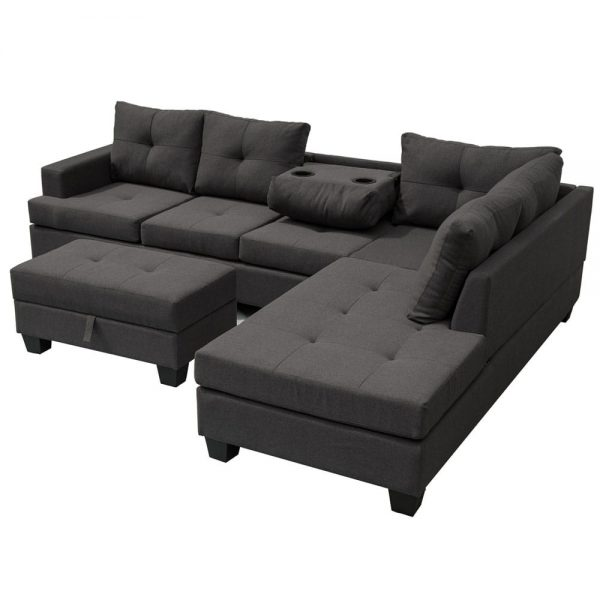 Grey L-Shape Sofa Sectional Matching Storage Ottoman and Cup Holders, Living Room Sofa white