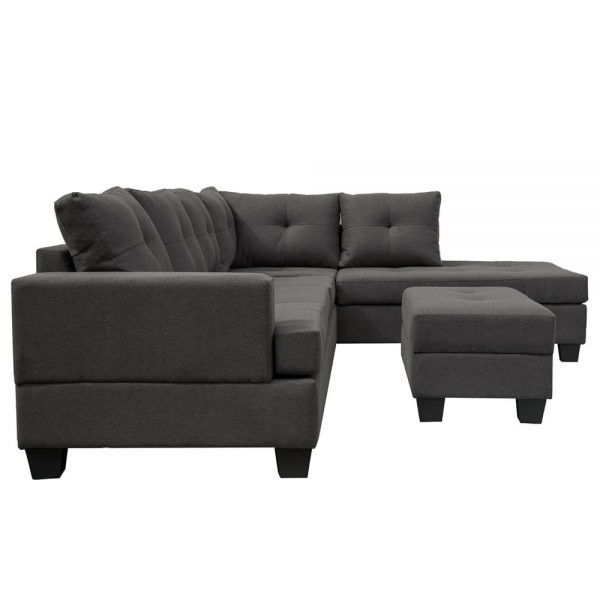 Grey L-Shape Sofa Sectional Matching Storage Ottoman and Cup Holders, Living Room Sofa white2