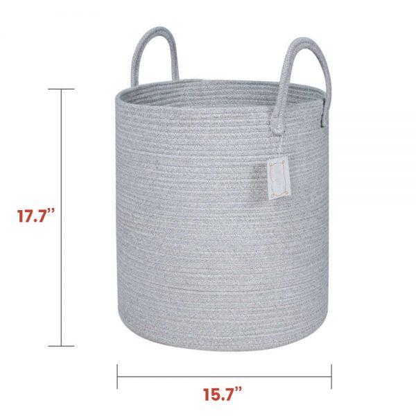 Large Capacity Woven Laundry Hamper gary white size