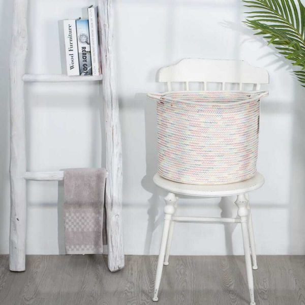 Large Cotton Rope Woven Basket with Handles, Organization and Storage Bin sences 1