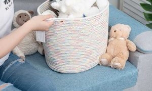 Large Cotton Rope Woven Basket with Handles, Organization and Storage Bin sences 2