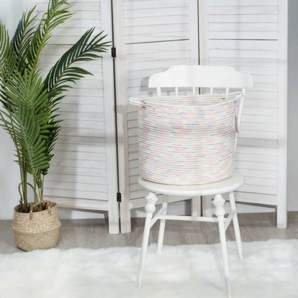 Large Cotton Rope Woven Basket with Handles, Organization and Storage Bin sences