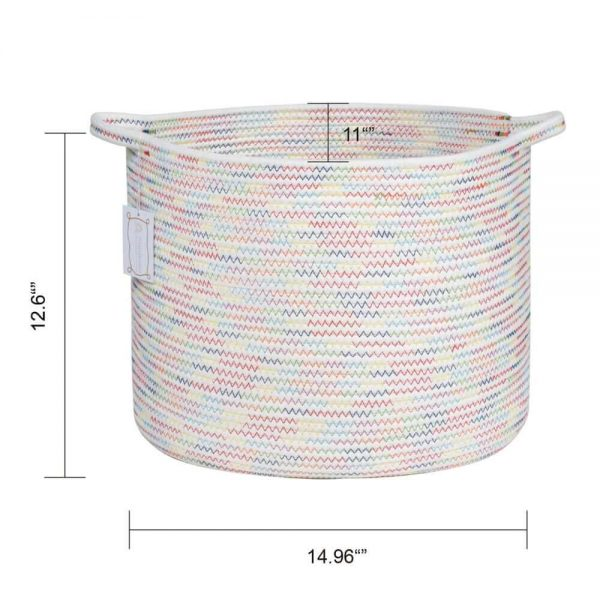 Large Cotton Rope Woven Basket with Handles, Organization and Storage Bin size
