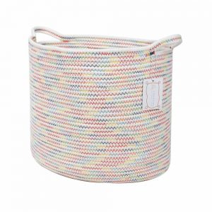 Large Cotton Rope Woven Basket with Handles, Organization and Storage Bin white 1