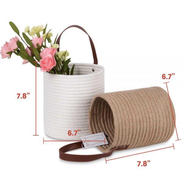 Large Laundry Hamper Woven Cotton Rope Storage Baskets sences size