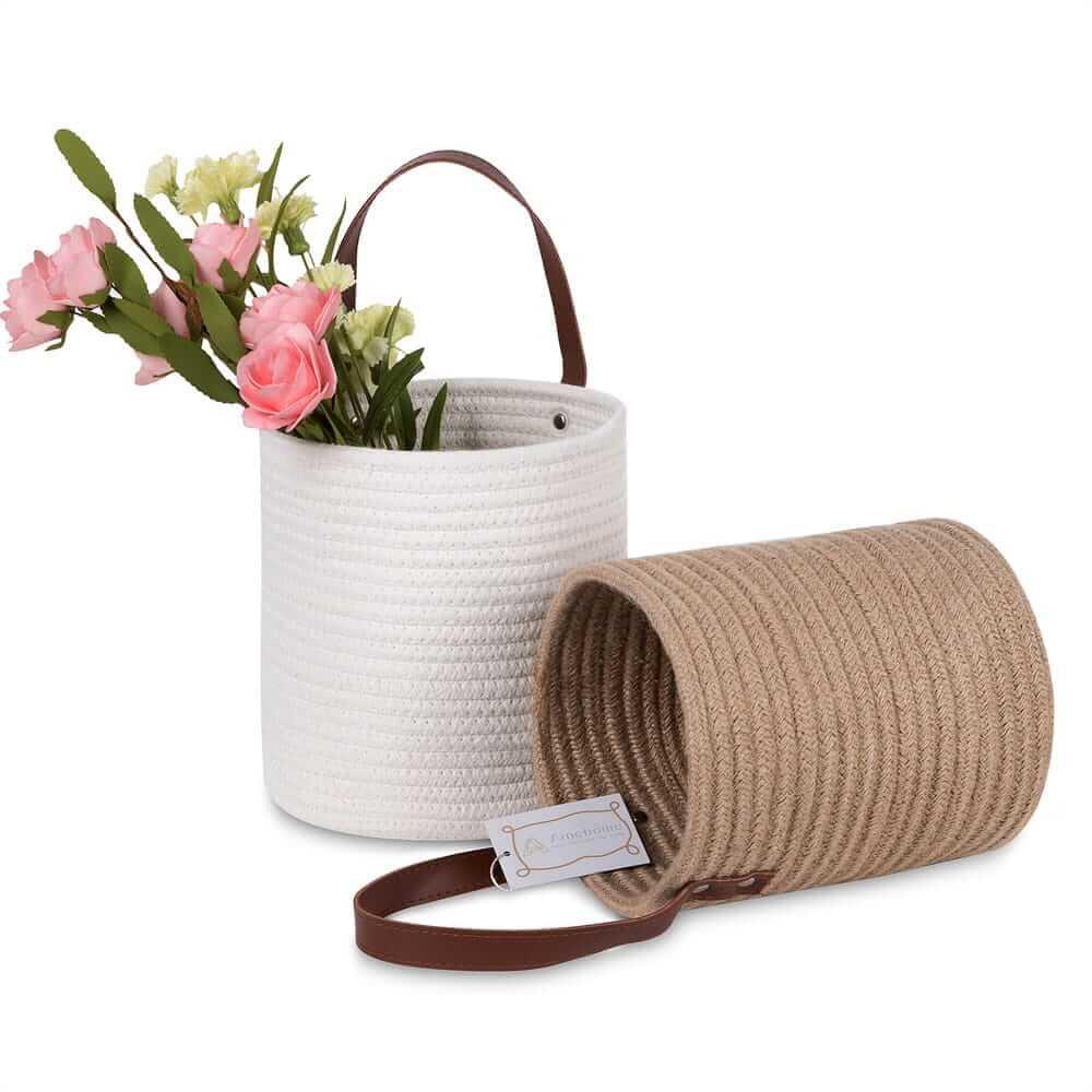 Large Laundry Hamper Woven Cotton Rope Storage Baskets white