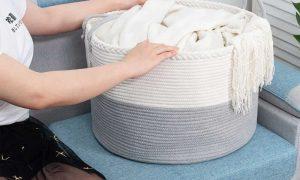 Laundry Basket Cotton Rope Basket Woven Storage for Toys sences