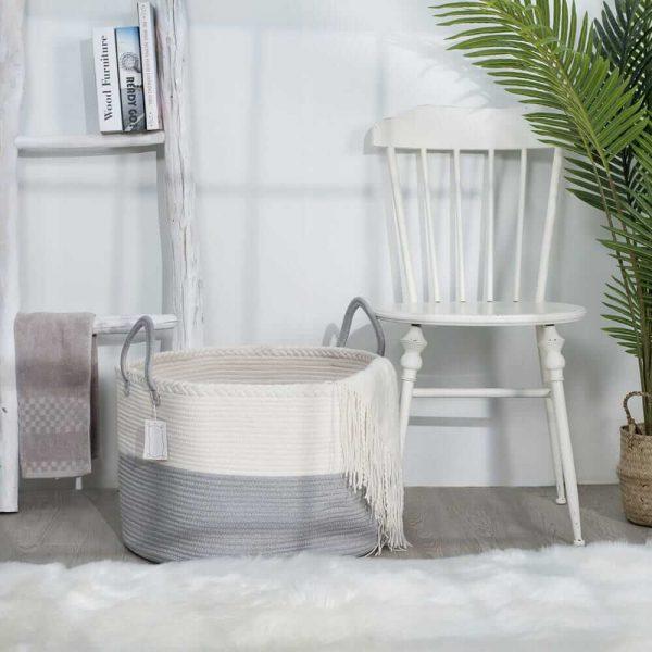Laundry Basket Cotton Rope Basket Woven Storage for Toys sences1
