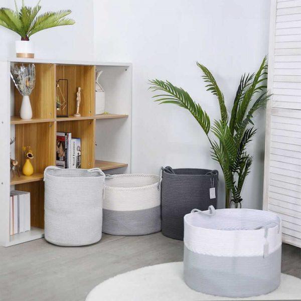 Laundry Basket Cotton Rope Basket Woven Storage for Toys sences2
