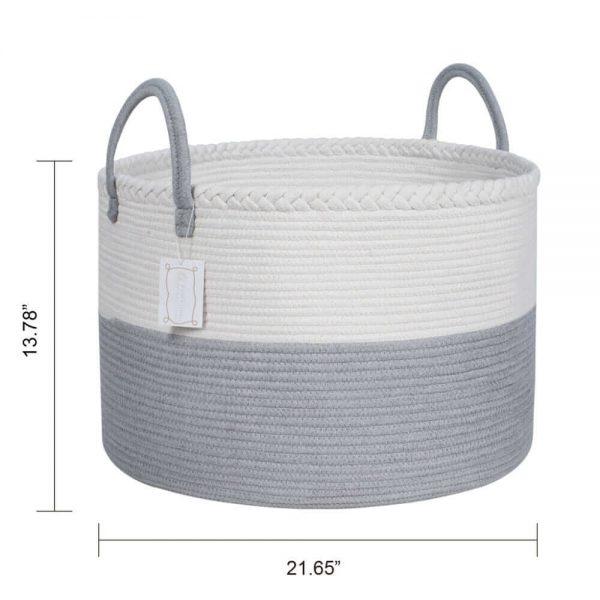 Laundry Basket Cotton Rope Basket Woven Storage for Toys white size