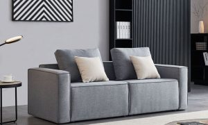 Linen Sofa With Wide Armrest-Gray