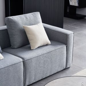 Linen Sofa With Wide Armrest-Gray details