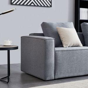Linen Sofa With Wide Armrest-Gray details1