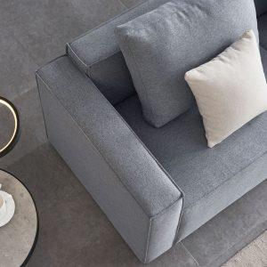 Linen Sofa With Wide Armrest-Gray details2