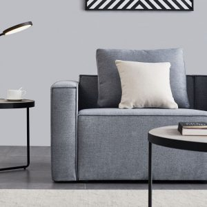 Linen Sofa With Wide Armrest-Gray details3