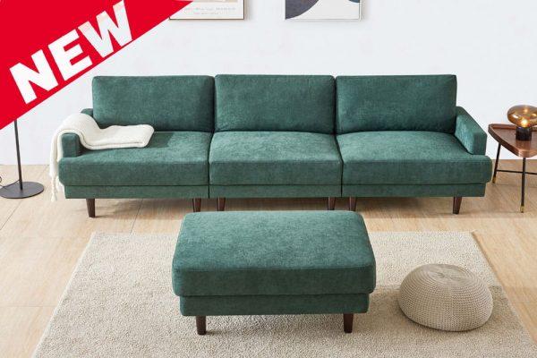 Modern fabric sofa L shape, 3 seater with ottoman-104.6 Emerald