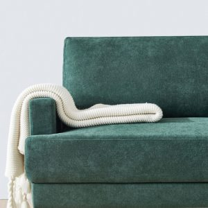 Modern fabric sofa L shape, 3 seater with ottoman-104.6 Emerald details 1
