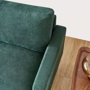 Modern fabric sofa L shape, 3 seater with ottoman-104.6 Emerald details