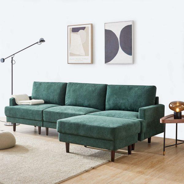Modern fabric sofa L shape, 3 seater with ottoman-104.6 Emerald side