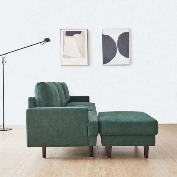 Modern fabric sofa L shape, 3 seater with ottoman-104.6 Emerald side1