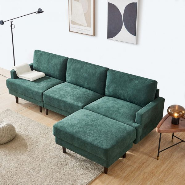 Modern fabric sofa L shape, 3 seater with ottoman-104.6 Emerald top