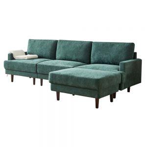 Modern fabric sofa L shape, 3 seater with ottoman-104.6 Emerald white 1