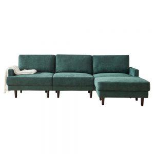 Modern fabric sofa L shape, 3 seater with ottoman-104.6 Emerald white