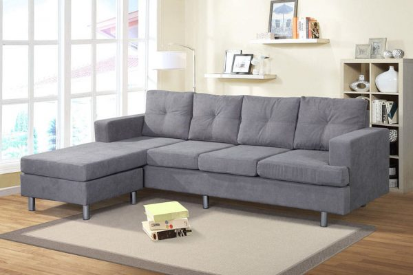 Sectional Sofa Set for Living Room with L Shape Chaise Lounge ,Left or Right Hand Chaise Modern (Grey) side
