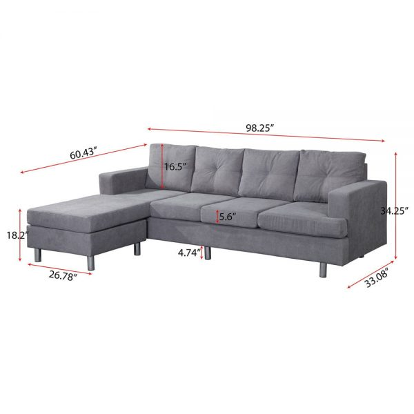 Sectional Sofa Set for Living Room with L Shape Chaise Lounge ,Left or Right Hand Chaise Modern (Grey) size